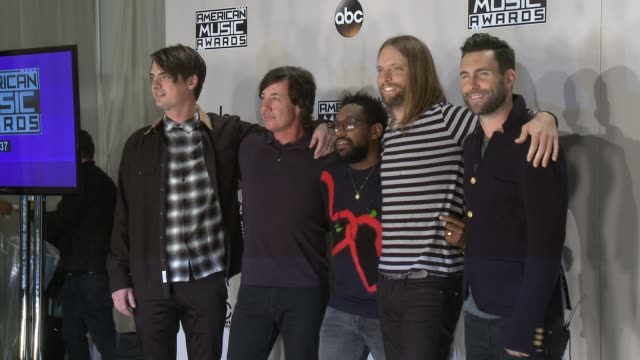 mickey madden matt flynn pj morton james valentine and adam levine at 2016 american music awards at microsoft theater on november 20 2016 in los... - american music awards stock videos and b-roll footage