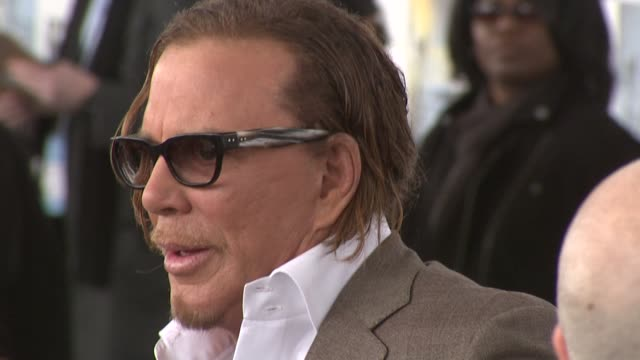 mickey rourke at the film independent's 2009 spirit awards arrivals part 2 at los angeles ca. - independent feature project stock videos & royalty-free footage