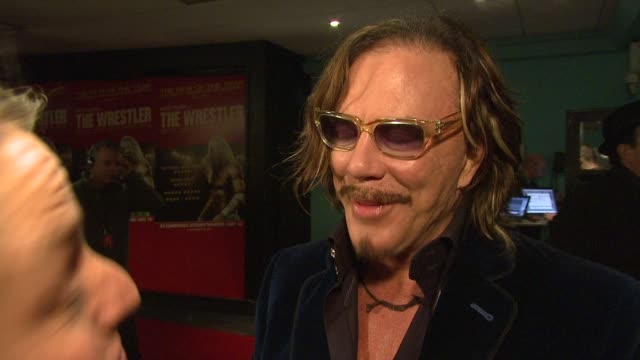 mickey rourke on not wearing spandex to the premiere keeping souvenirs from movies on the shoot being brutal on wrestling as a sport and how... - spandex stock videos & royalty-free footage