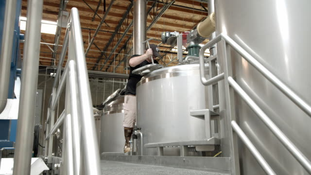 ts ls micro brewery brew master lowers mash paddle into tank to stir up mash / thousand palms, california, usa - beer cap stock videos & royalty-free footage