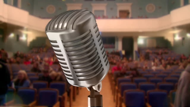 microphone and a concert hall (timelapse) - auditorium stock videos and b-roll footage