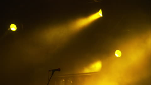 microphone and yellow lights - concert stock videos & royalty-free footage