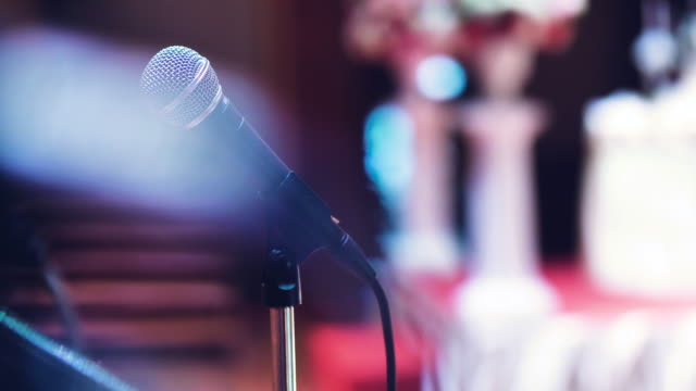 microphone on stage - auditorium stock videos & royalty-free footage