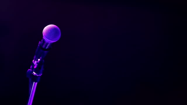 microphone on the stage with copyspace nightlife - thailand stock videos & royalty-free footage