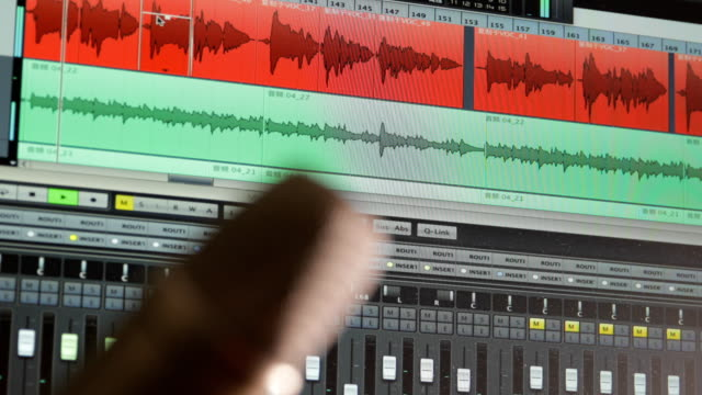 microphone with digital audio workstation screen - microphone stock videos & royalty-free footage