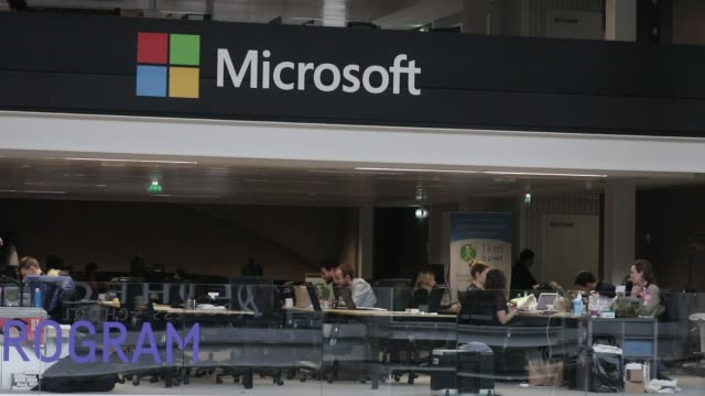 microsoft logo seen at station f world s biggest startup campus on march 5 2020 in paris france - logo stock videos & royalty-free footage