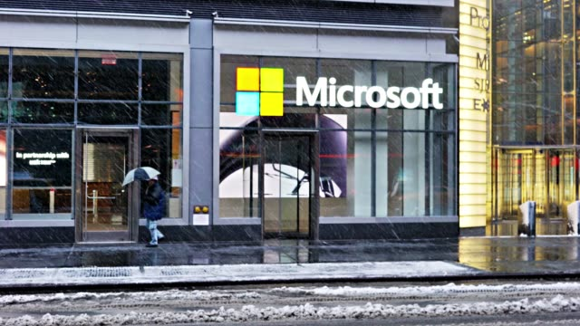 microsoft shop. midtown manhattan - microsoft stock videos and b-roll footage