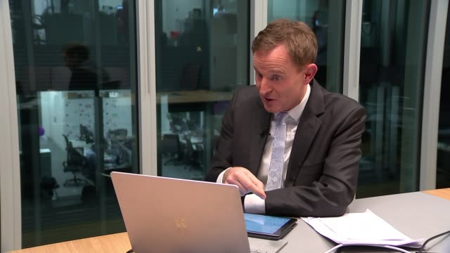 microsoft targets a negative carbon footprint usa int brad smith interview via internet sot london / usa int reporter talking via video link with... - climate policy stock videos & royalty-free footage