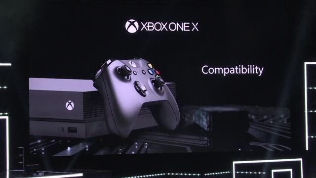 microsoft unveils xbox one x billing it as the most powerful video console ever made and escalating a battle with market king playstation - sony stock videos & royalty-free footage