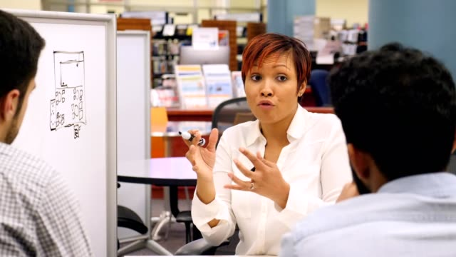 Mid adult African American businesswoman discusses something with colleagues