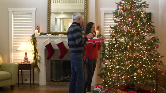 mid adult couple greeting guests at christmas - christmas stocking stock videos and b-roll footage