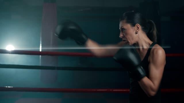 vídeos de stock, filmes e b-roll de boxing fêmea adulto meados de da sombra do pugilista - posição de combate