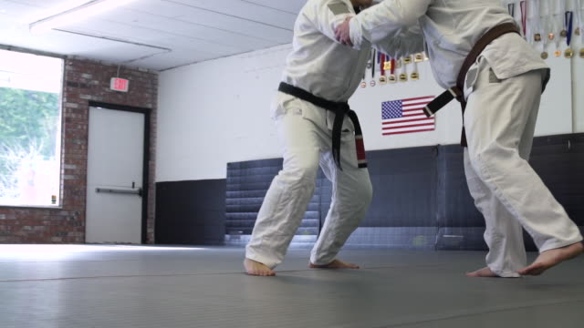 mid adult men practicing jiu-jitsu - mid adult men stock videos & royalty-free footage