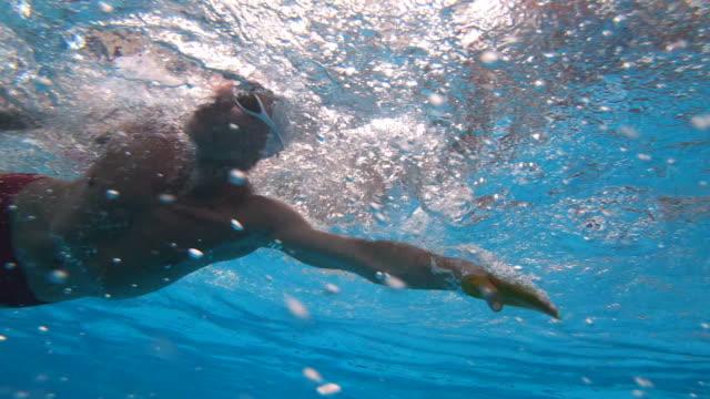 vídeos y material grabado en eventos de stock de natación de nadador adulto medio - gorro de baño