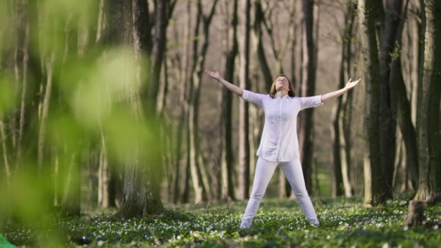 DS Mid adult woman doing tai chi exercises in the forest