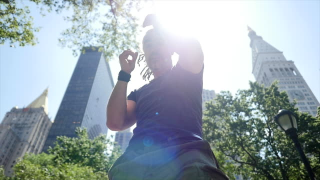 mid age rastafarian man doing martial arts fight boxing training excercise outdoors - rastafarian stock videos and b-roll footage