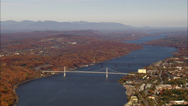 mid hudson bridge - aerial view - new york,  ulster county,  united states - ulster county stock videos & royalty-free footage