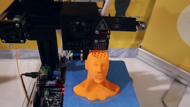 Mid Shot 3D printer printing a sculpture of a man's head General views of the 2014 International Consumer Electronics Show in Las Vegas Nevada CES...