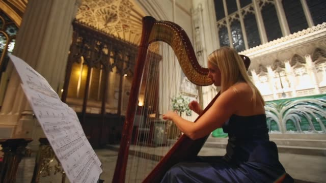 mid shot a musician playing a harp catering students from the city of bath college serve more than a 100 diners sat between the choir stalls a... - musical instrument stock videos & royalty-free footage