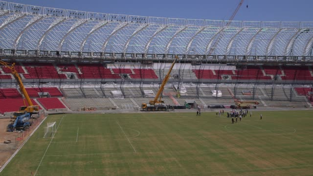 mid shot construction at estadio beirario in porto alegre continues home to the sport club internacional one of brazil's biggest clubs the totally... - porto alegre stock-videos und b-roll-filmmaterial