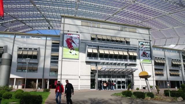 mid shot, external view of the bayarena entrance. bayer 04 leverkusen v tsg 1899 hoffenheim - bundesliga - editorial video footage at bayarena on... - 1899 stock videos & royalty-free footage