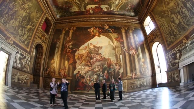 mid shot fish eye view of painted wall guests admire the west wall of the the old royal naval college's painted hall following its first restoration... - royal navy college greenwich stock videos & royalty-free footage