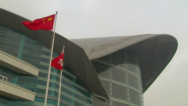 mid shot flag hong kong china - hong kong flag stock videos & royalty-free footage