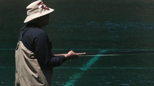 mid shot of a angler practising fishing. the golden gate angling & casting club located in the heart of beautiful golden gate park in san francisco... - fishing rod stock videos & royalty-free footage