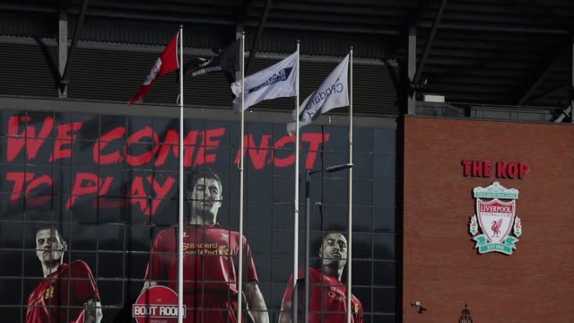 Mid shot of Anfield Stadium exterior Liverpool v Swansea on February 17 2013 in Liverpool England