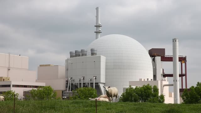 mid shot of borkdorf power plant with grazing sheep in the foreground nuclear power plant brokdorf on june 10 2013 in glueckstadt federal republic of... - kernenergie stock-videos und b-roll-filmmaterial