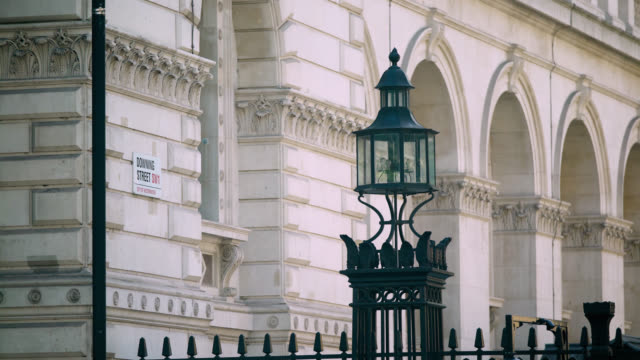 mid shot of downing street road sign, london - downing street stock videos & royalty-free footage