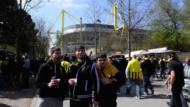 mid shot of drunken fans singing signal iduna park general view at signal iduna park on april 20 2013 in dortmund federal republic of germany mid... - borussia dortmund stock videos and b-roll footage