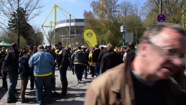 mid shot of fans gathering around stadium grounds signal iduna park general view at signal iduna park on april 20 2013 in dortmund federal republic... - borussia dortmund stock videos and b-roll footage