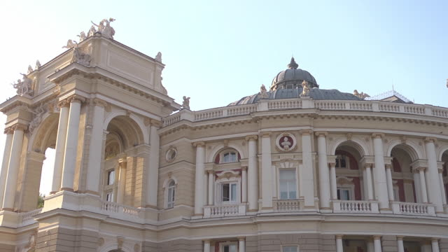 mid shot of Opera House in Odessa, with entrance