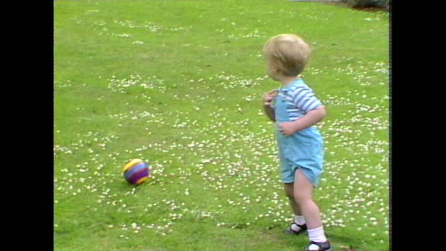 mid shot of prince william during a photocall in kensington palace gardens. - toddler stock videos & royalty-free footage
