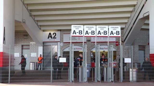 mid shot of stadium entrance. bayer 04 leverkusen v tsg 1899 hoffenheim - bundesliga - editorial video footage at bayarena on april 20, 2013 in... - 1899 bildbanksvideor och videomaterial från bakom kulisserna