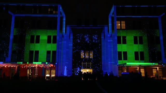 Mid shot of the Australian Museum of Contemporary Art illuminated Vivid Sydney Opening Night on May 24 2013 in Sydney Australia