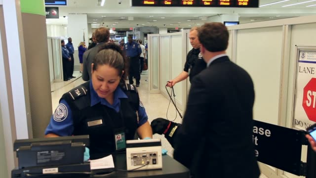 mid shot of tsa agent checking passengers documents. the program already in place at three other airports in the nation uses behavior detection... - セキュリティスキャナ点の映像素材/bロール
