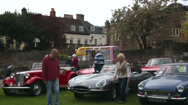mid shot of vintage cars. now in its 19th year and organized by the classic & historic motor club, this year's event will once again raise funds for... - wells cathedral stock videos & royalty-free footage