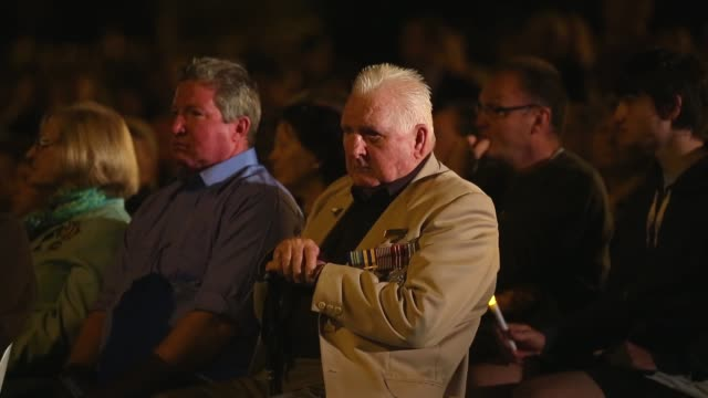 mid shot of war veteran at anzac day commemoration. australians commemorate anzac day on april 25, 2013 in various cities, australia mid shot of war... - anzac day stock videos & royalty-free footage