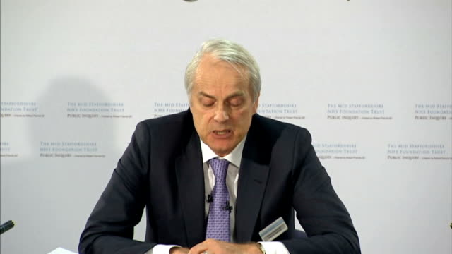 mid staffordshire nhs trust inquiry published robert francis qc press conference robert francis press conference sot summing up francis leaving press... - nhs stock videos & royalty-free footage