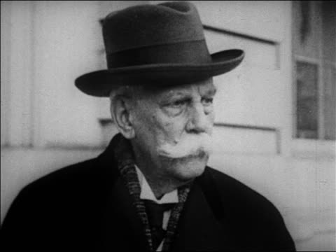 mid-1920s close up aged justice oliver wendell holmes / newsreel - moustache stock videos & royalty-free footage