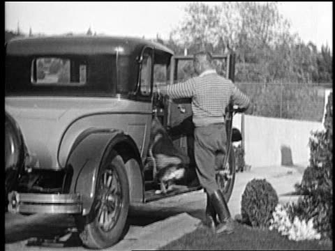 b/w mid1920s trainer lee duncan putting rin tin tin in car climbs in after him / newsreel - beruflicher umgang mit tieren stock-videos und b-roll-filmmaterial