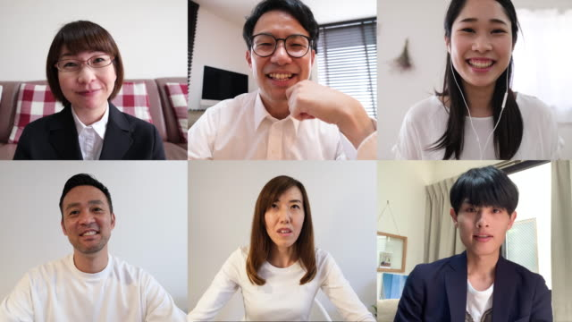 mid-adult business people talking on video conference - east asian ethnicity stock videos & royalty-free footage