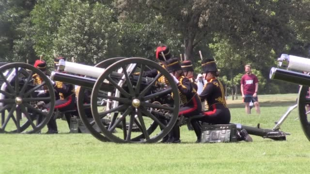 a midday royal 41gun salute by the king's troop royal horse artillery celebrates the 97th birthday of prince philip in hyde park london - midday stock videos and b-roll footage
