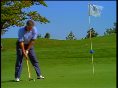 Middle aged male golfer putting ball into hole on green then cheering