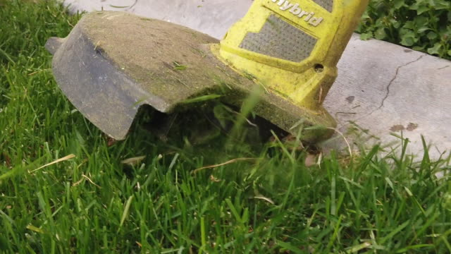 a middle aged woman edging the lawn with a weed trimmer - at the edge of stock videos & royalty-free footage
