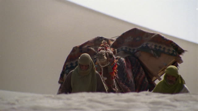 cu, middle east, bedouins leading camels through desert - gemischte altersgruppe stock-videos und b-roll-filmmaterial