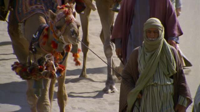 cu, middle east, camel train traveling through desert - ベドウィン族点の映像素材/bロール