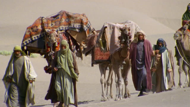 cu, middle east, camel train traveling through desert - reenactment stock videos and b-roll footage